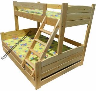 Mega Kolos 140x200 3oso łóżko Piętrowe Szuf 150kg