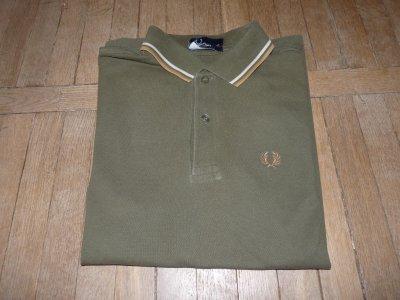 Fred Perry polo khaki zielone XS