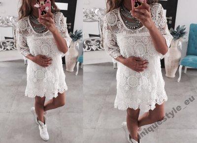 468a63d5 Sukienka BOHO koronka szydełkowa biała CUDNA - 6294429774 ...