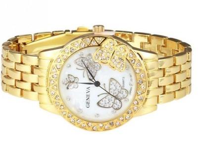 Złoty Zegarek Damski Kwiaty Motyl ZŁOTY ZK37