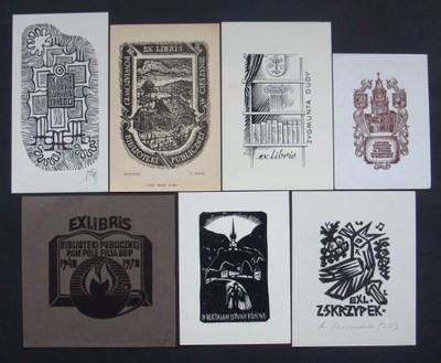 3} Exlibris Ekslibris - zestaw 7 sztuk.