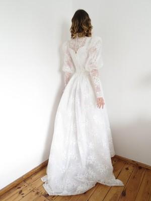 Koronkowa Suknia ślubna Retro Vintage Lata 80 90 6785779110