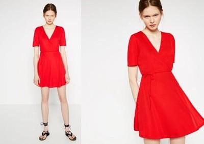 czerwona sukienka kopertowa zara