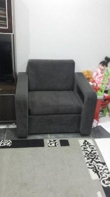 Fotel Rozkładany Welur Grafit Pow Spania 190x70