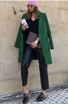 Zara wełniany płaszcz o męskim kroju zielony M 38