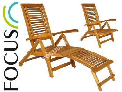 Leżak Fotel Ogrodowy Drewniany Leżanka - SKŁADANY