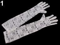 Rękawiczki wizytowe długość 43 cm koronkowe