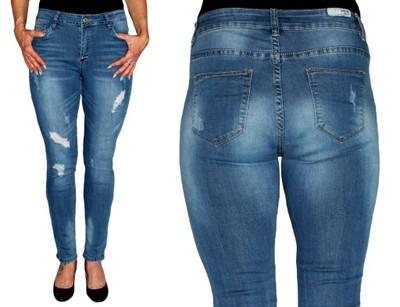 3d1500fcc768 DAMSKIE spodnie JEANS duże rozmiary PRZETARCIA 44 - 6827414892 ...