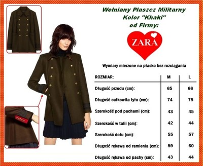 ZARA Wełniany Płaszcz Military Rozm. M =NOWY=