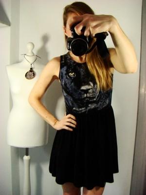 Sukienka TOPSHOP Pantera Czarna BOHO CASUAL 34 XS