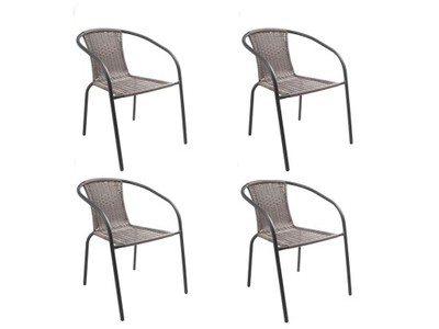 4x Krzesła Ogrodowe Balkonowe Bistro Rattan Szary