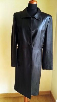 OCHNIK czarny plaszcz skórzany 38 M