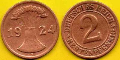 NIEMCY  2 Rentenpfennig  1924 r  F