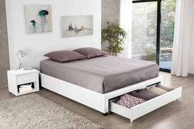 łóżko Do Sypialni Białe Ekoskóra 160x200cm