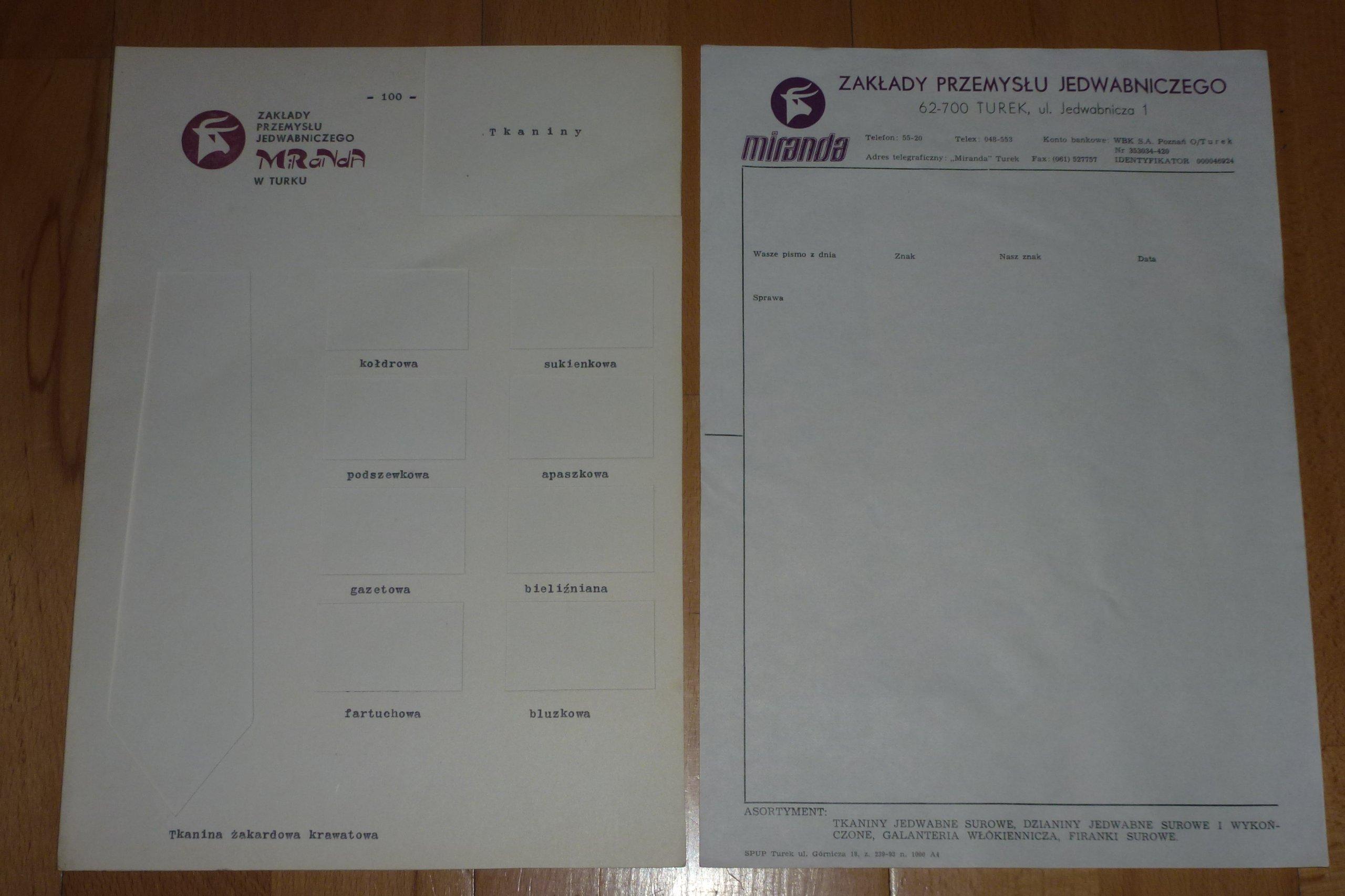 Miranda Turek Czyste dokumenty do tkanin i pism
