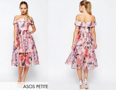 Sukienka Asos Midi Bardotka Wesele Kwiaty Boho 34 6849655477