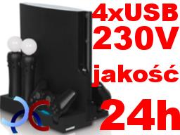 PS3 Stojak Podstawka Ładowarka Do MOVE PADÓW+4xUSB