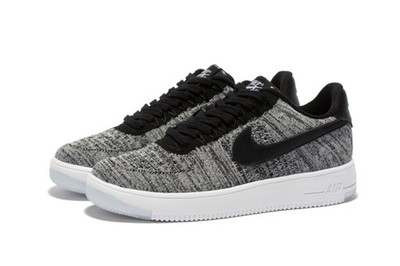 buty nike air force 1 low flyknit czarne szare