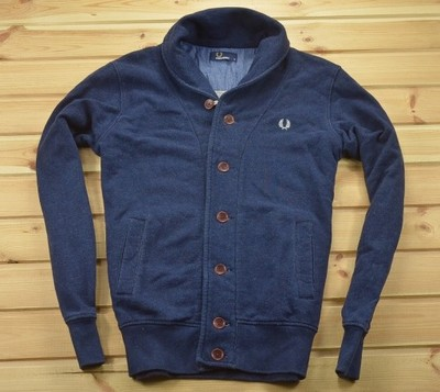 FRED PERRY - BLUZA RUGBY NAVY CARDIGAN - M - IDEAŁ