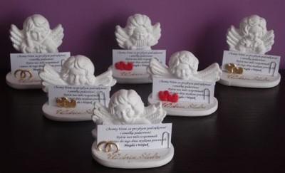 Podziękowania dla gości aniołki ślub obrączki GRAT