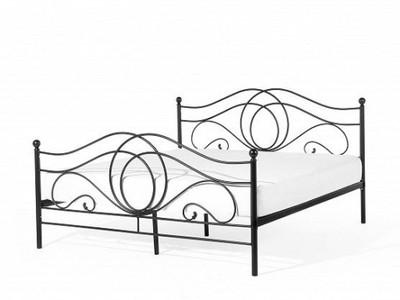 łóżko 140x200 Metalowe Kute Stabilne Czarne 6801224560