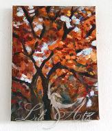 Obraz - Jesienne drzewo - akryl na płótnie - mały