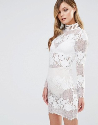 83abf1158f sukienka biała ASOS koronka choker wesele 34 xs 36 - 6904120967 ...