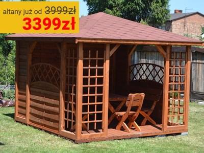 Drewniana Altana Ogrodowa Altanka Altany 3x3m 6743862947