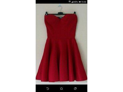 Czerwona Rozkloszowana Sukienka Bez Ramiaczek 6627373020 Oficjalne Archiwum Allegro