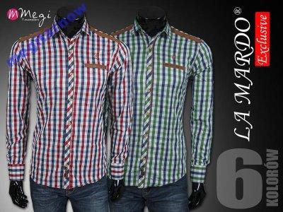 3cf50984330be5 Modna koszula męska długi rękaw łaty LA MARDO r. M - 6657045640 ...