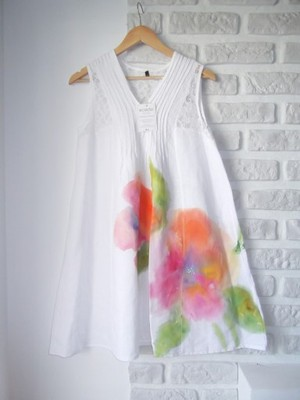 554a95378c Sukienka malowana ręcznie 40 L lniana biała+SOLAR - 6776619226 ...