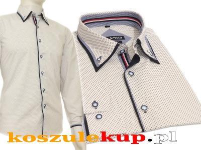 4243 Elegancka koszula męska biała czarne kropki  Sk0nU