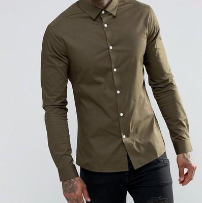 f75 koszula ex ASOS skinny casualowa khaki XS