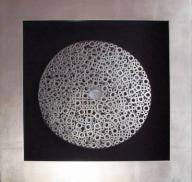 Metaloplastyka obraz 3D 80x80 drewniana rama 121