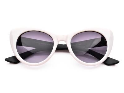 ab2403b4dad0b4 Okulary przeciwsłoneczne damskie KOCIE oczy białe - 6739385961 ...