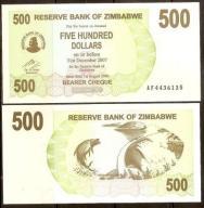 Zimbabwe - P- 43 - 500 dollars - 2006 - seria AF