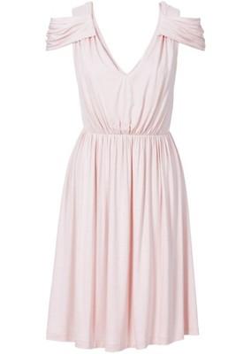 Sukienka odkryte ramiona taliowana 40/42 róż HY176