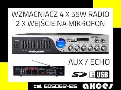 WZMACNIACZ USB SD 2x MIKROFON ECHO RCA RADIO [E669