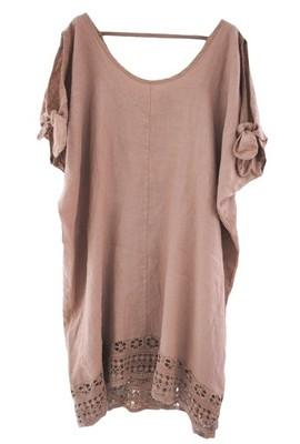 6f5a0ae867 Dolce! Włoska lniana sukienka z gipiurą XL XXL - 6856923838 ...