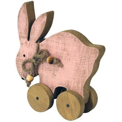 Zajączekna Kółkach Wielkanocna Figurka Vintage