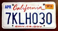 California 2018 - tablica rejestracyjna USA