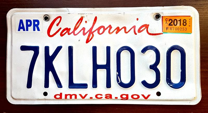 California 2018 Tablica Rejestracyjna Usa 7050986095 Oficjalne Archiwum Allegro