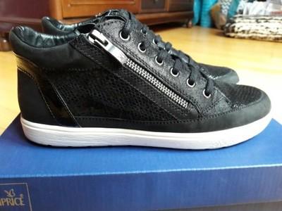 Buty Sneakersy Caprice 37,5 czarne skóra naturalna