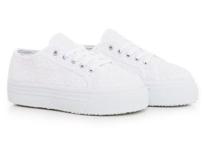 Białe TRAMPKI NA PLATFORMIE tenisówki buty p Ae187