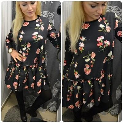 Sukienka w kwiaty czarna FALBANA XANA o la S M
