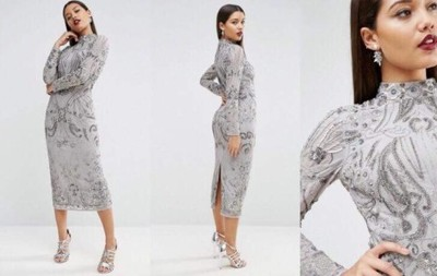 985cf59cdf Sukienka ASOS cekiny MIDI 42 srebrna Lav mag - 6866836847 ...
