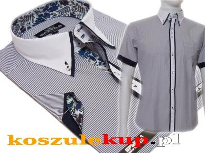 4344 Koszula męska SLIM Japan biały kołnierzyk 4313693528  11Axr