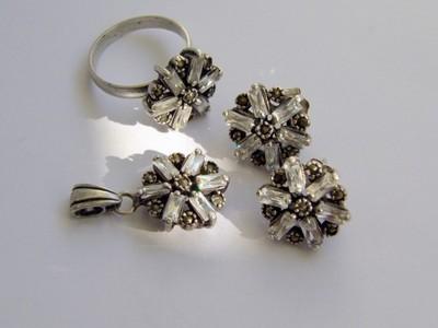 14g Komplet biżuterii srebro kryształ markazyty