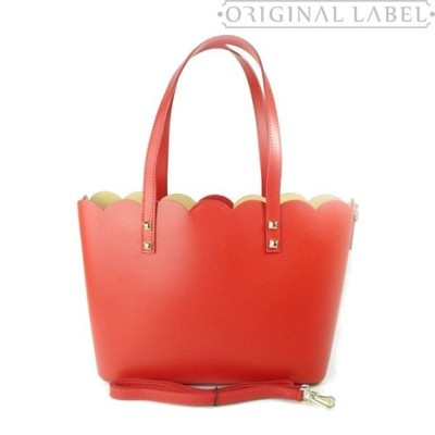 003025155f739 Włoska Torebka Damska SHOPPER BAG Czerwona Skóra - 6430168961 ...