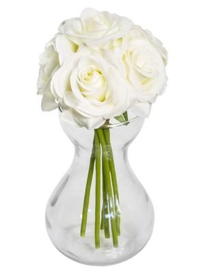 RÓŻE BIAŁE BUKIET DUŻY sztuczne kwiaty PIĘKNY